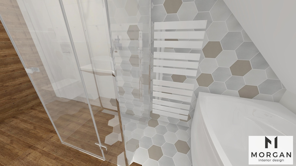 łazienka Heksagonalne Płytki W Aranżacji Wnętrza Morgan