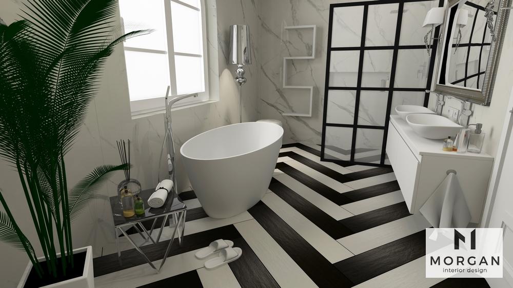Aranżacja łazienki Z Wanną Wolnostojącą Morgan Interior Design
